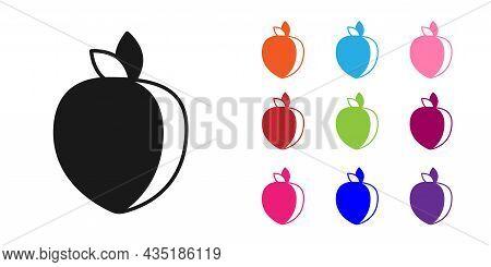 Black Plum Fruit Icon Isolated On White Background. Set Icons Colorful. Vector