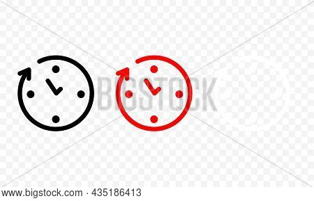 Simple Black And Color Circular Clocks Set With Hour And Minute Hand. Trendy Flat Isolated Outline S