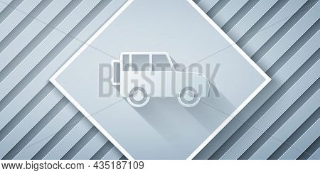 Paper Cut Off Road Car Icon Isolated On Grey Background. Paper Art Style. Vector