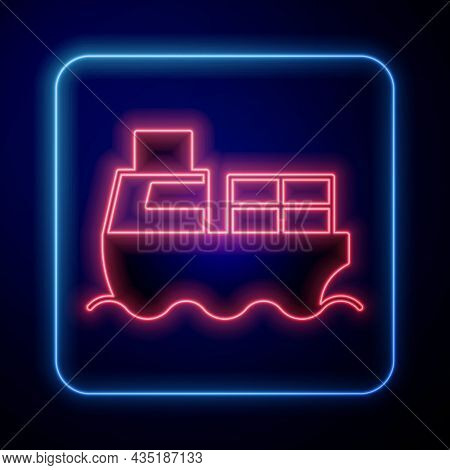 Glowing Neon Cargo Ship With Boxes Delivery Service Icon Isolated On Black Background. Delivery, Tra