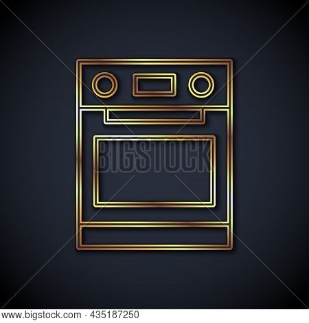 Gold Line Oven Icon Isolated On Black Background. Stove Gas Oven Sign. Vector