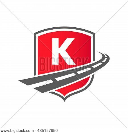 Transport Logo With Shield Concept On Letter K Concept. K Letter Transportation Road Logo Design Fre