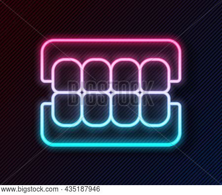 Glowing Neon Line False Jaw Icon Isolated On Black Background. Dental Jaw Or Dentures, False Teeth W