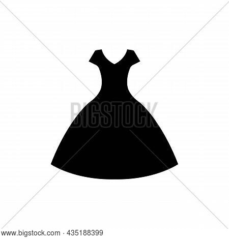 Woman Dress Black Icon On White. Bress Layout Concept. Trendy Flat Isolated Outline Symbol, Sign Can