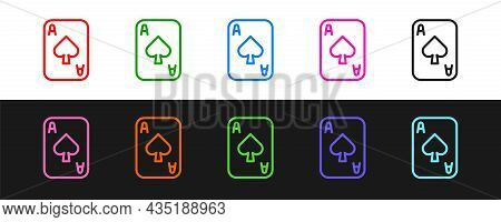 Set Line Playing Cards Icon Isolated On Black And White Background. Casino Gambling. Vector