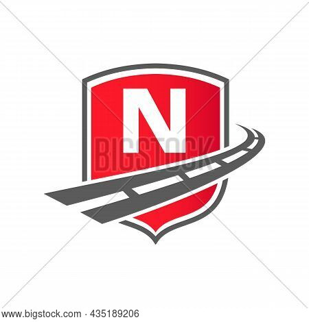 Transport Logo With Shield Concept On Letter N Concept. N Letter Transportation Road Logo Design Fre