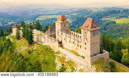 Kasperk Castle was founded in 1356 by Holy Roman Emperor and King of Bohemia Charles IV. Aerial view to famous landmark in National Park Sumava. Czech Republic, Central Europe.