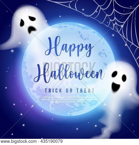 Happy Halloween Full Moon Night Sky Spirit Ghost And Spider Web