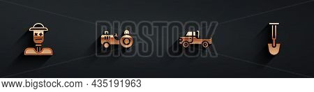 Set Scarecrow, Tractor, Pickup Truck And Shovel Icon With Long Shadow. Vector