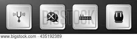 Set Musical Tuning Fork, Drum Sticks, Sound Mixer Controller And Icon. Silver Square Button. Vector