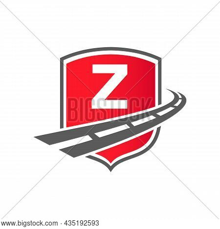 Transport Logo With Shield Concept On Letter Z Concept. Z Letter Transportation Road Logo Design Fre