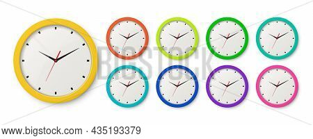 Vector 3d Realistic Color Wall Office Clock Icon Set Isolated. Different Colors. White Dial. Design