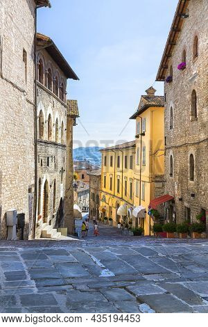 A Beautiful View Of Gubbio, Medieval Town In The Province Of Perugia, Umbria, Central Italy