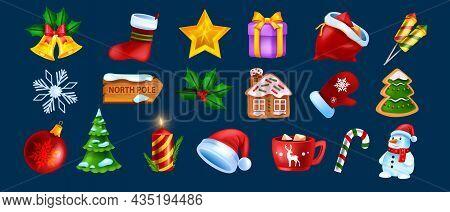 Christmas Game Ui Icon Set, Vector X-mas Winter Holiday Symbol Kit, New Year Cartoon Design Elements