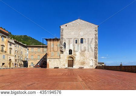 Piazza Grande With The Praetorian Palace In Gubbio, A Medieval Town In Umbria In The Province Of Per