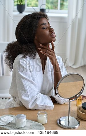 Sensual Pleased Enjoyed Beautiful Young 20s African American Girl In Front Of Mirror Touching Face W