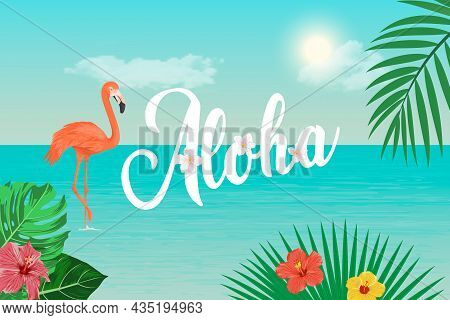 Aloha. Vector Banner, Card With Tropic Leaves, Flamingo, Flowers. Tropical Background. Vector Illust