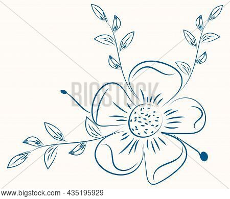 Thin Stroke Silhouettes Of Grass, Flowers And Herbs On Light Background. Hand Drawn Sketch