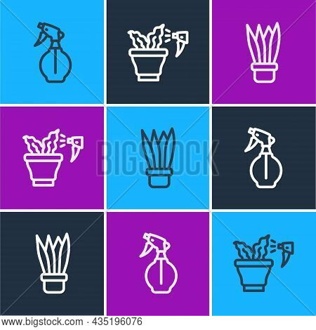 Set Line Water Spray Bottle, Plant In Pot And Spraying Plant Icon. Vector