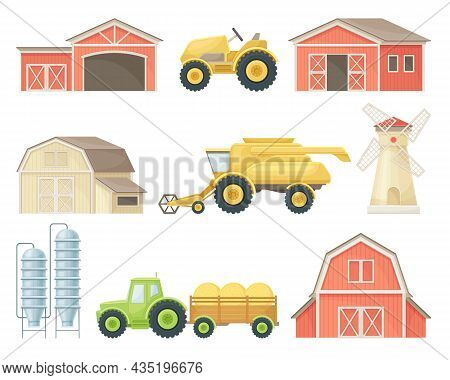 Farm Agricultural Buildings And Industrial Vehicles Agricultural Machinery Flat Vector Illustration