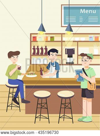 Guys At Bar Counter Of Cafe Drinking And Eating. Waiter Serving Drinks At Bar Happily. Cafe Bar With