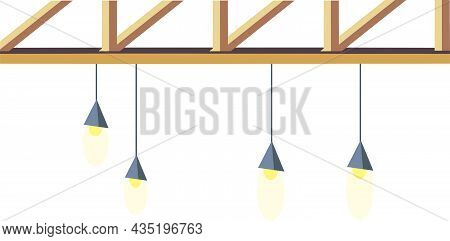 Illustration Of Contemporary Ceiling Lights. Hanging Lights From Cafe And Bar Counter. Modern Flat V