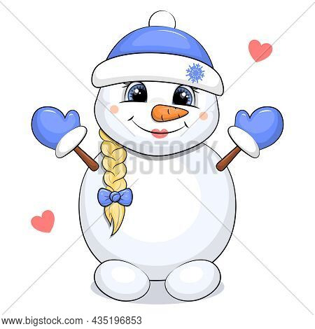 Cute Cartoon Snowgirl With Braid, Blue Hat And Mittens. Winter Vector Illustration On White Backgrou