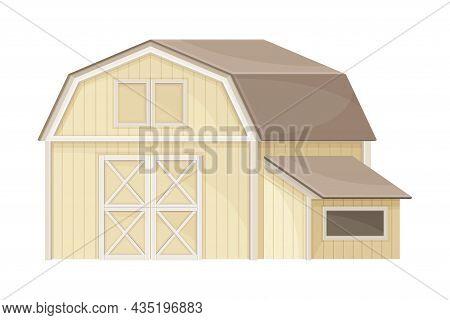 Wooden Barn, Farmhouse Agricultural Building Flat Vector Illustration