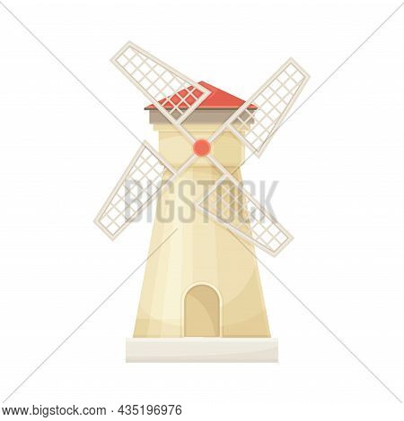 Traditional Rural Windmill Agricultural Building Flat Vector Illustration