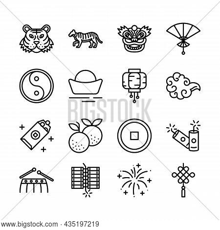Chinese New Year Sign Black Thin Line Icon Set Include Of Tiger, Money, Firecracker, Fan And Lantern