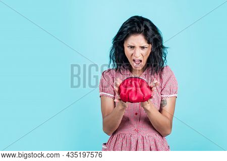 Female Housewife Has Financial Problem. Girl Need Loan Or Credit. Income Planning. Angry Woman Hold