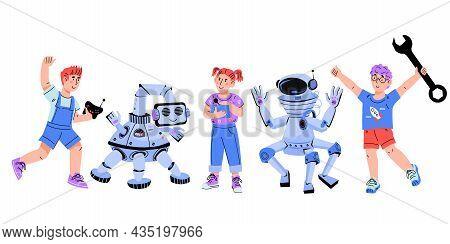 Kids Electronic, Robotics And Engineering Education. Children Programming Robots, Flat Cartoon Vecto