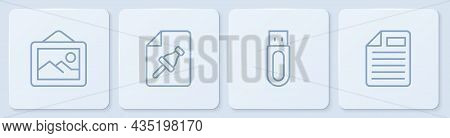 Set Line Picture Landscape, Usb Flash Drive, Note Paper With Push Button And File Document. White Sq