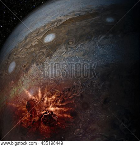Jupiter Planet And Meteorites Collision. Elements Of This Image Furnished By Nasa.