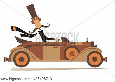 Mustache Man In The Top Hat Drives A Retro Car Illustration. Cartoon Long Mustache Man In The Top Ha