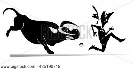 Farmer Or Cowboy And Angry Bull Illustration.  Frightened Farmer Or Cowboy Runs Away From The Angry