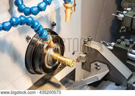 Close Up Spindle Chuck And Product Part Set On High Precision Cnc Industrial Lathe Turning Machine A