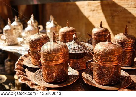 Handicraft Beaded Decorate Arabic Style Tea Cups. Brass Colored Traditional Middle-eastern Tea Set.