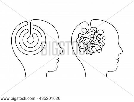 Head Mind People With Scheme And Confused Thinking Brain, Continuous Line. Disorder, Chaos, Confusio