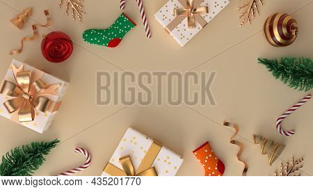 Merry Christmas And Happy New Year. Xmas Festive Background With Realistic Objects. Composition Shap