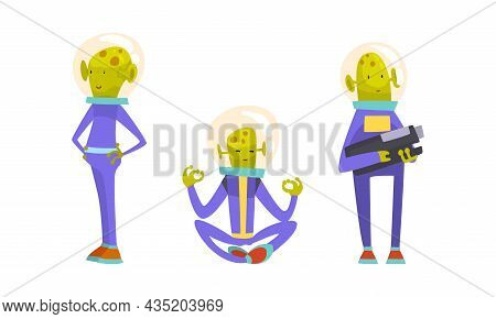 Funny Green Alien Character Wearing Space Suit Holding Weapon And Sitting In Lotus Yoga Pose Vector