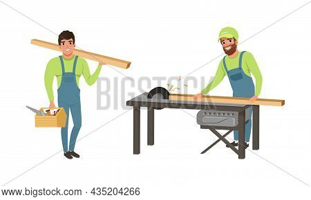 Professional Man Carpenter In Overall Working With Wooden Plank And Block Vector Set