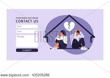 Contact Us Form Template For Web. Man And A Woman In A Quarrel. Two Characters Sitting Back To Back,