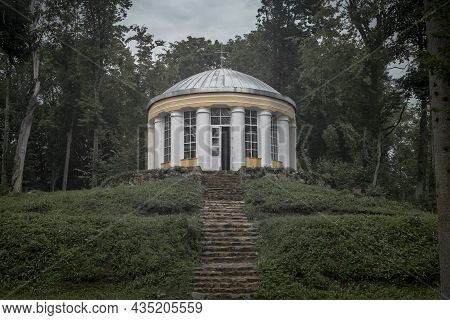Rotunda, Religious Building For Praying With Columns And Stone Stairs, Way Up To God Concept.