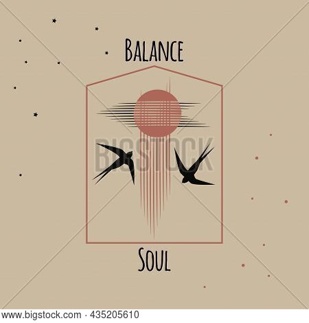 Concept Balance In Soul. Flock Of Swallows Flies To Bright Sun, Tree, Mountains, Clouds. Pink Backgr