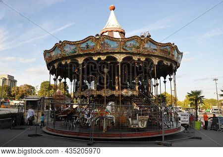 Carousel On The Streets Of Paris. Carousel With Horses. September 19, 2018, Paris, France.