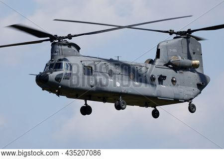 Zeltweg, Austria - September 1, 2016: Military Helicopter At Air Base. Air Force Flight Operation. A