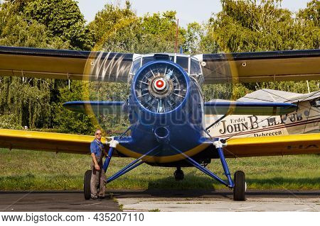 Kaposujlak, Hungary - June 5, 2021: Commercial Plane At Airport And Airfield. Small And Sport Aircra