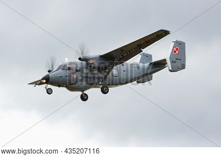 Geilenkirchen, Germany - June 30, 2017: Military Transport Plane At Air Base. Air Force Flight Opera