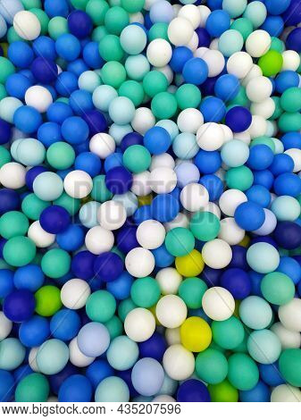 Colored Balloons. Blue-hued Balloons. Bright Background Colors. View From Above On A Lot Of Multi-co